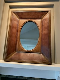 "W 3.5"" x W31"" x H38.5""Leather Framed Mirror with Brass Tacks Port Moody, V3H"