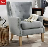 Heather grey button tuffed wingback arm chair Montreal, H8T