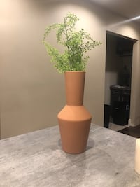 """Terra cotta modern style vase with faux greenery. 24"""" tall approx. Bourbonnais, 60914"""