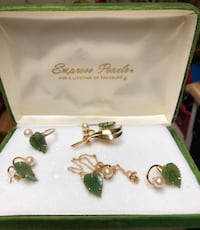 Gold plated - pearl - & jade set. Includes 2 earrings, 1 ring, 1 pin, & 1 necklace Santa Clarita, 91387
