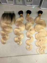 two brown and one white hair extensions Silver Spring