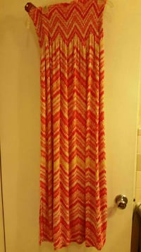 Orange Chevron Print Maxi Dress Lincoln, 35096
