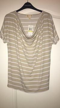 women's brown and white striped scoop-neck t-shirt