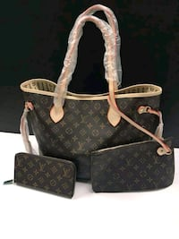 monogrammed black and brown Louis Vuitton leather tote bag 1496 mi