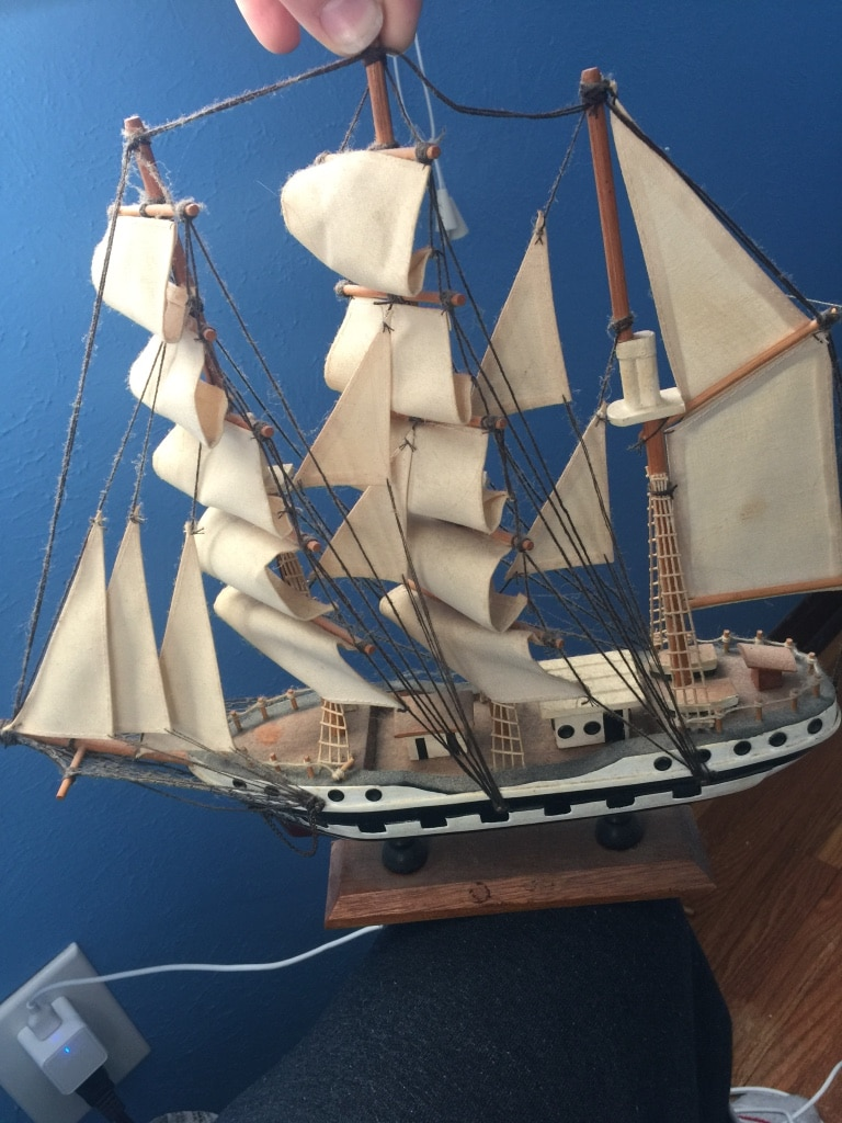white and blue sailing ship miniature for sale  Maumee