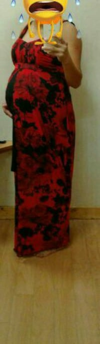 women's black and red floral sleeveless empire sheath maxi dress 1491 mi
