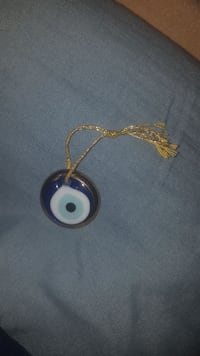 round blue-and-white glass pendant Lincoln, L0R