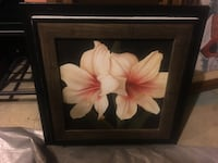 two pink lilies painting and black frame