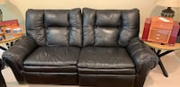 2 Lazy Boy Black Leather Couches and Ottoman Aldie, 20105