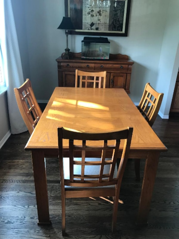 Dining Room Table, 4 Upholstered Chairs and a Buffet Table