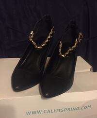 NEW! Black leather pointed-toe pumps 3738 km