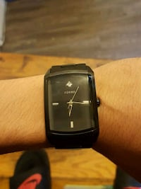 square black analog watch with black leather strap Barrie, L4M 2W3
