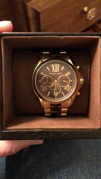 round black Michael Kors chronograph watch with link bracelet Albany, 12210