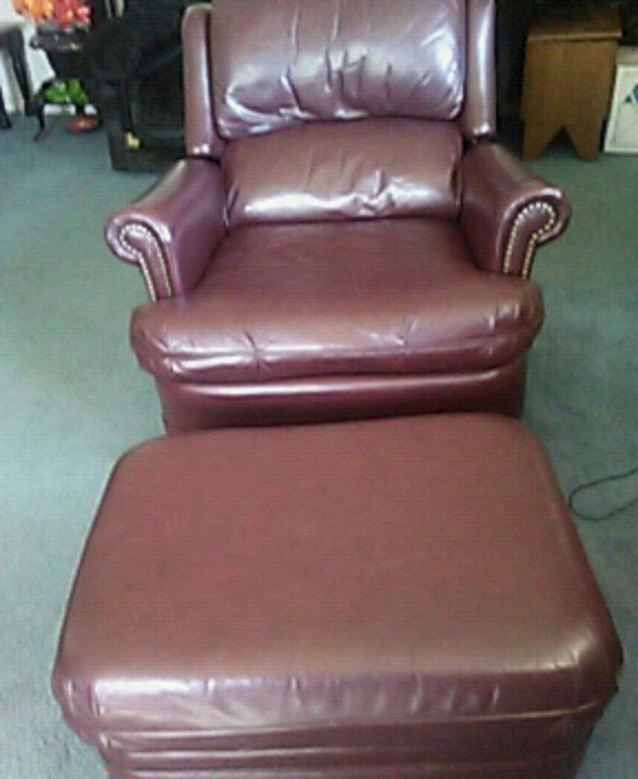 Burgundy Leather Chair With Matching Ottoman