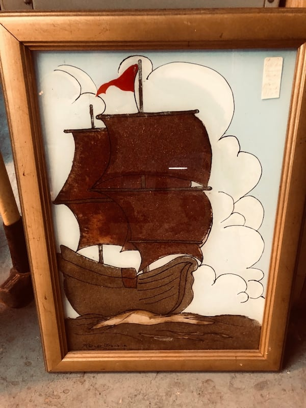 Boat painting with frame  bb0cd2a0-1e62-4940-add9-61cc3c14a282