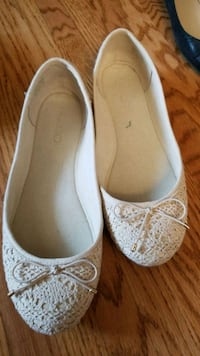 pair of white floral flats Calgary, T3A 6A8