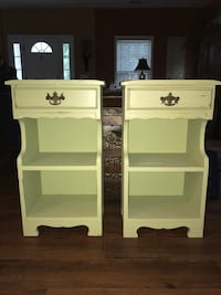 Two light green vintage wooden side tables  Bluffton, 29910