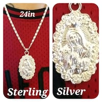 Sterling silver Madonna pendant & 24in chain Glen Burnie, 21061