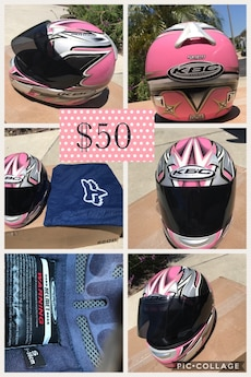 pink and gray KBC full face motorcycle helmet