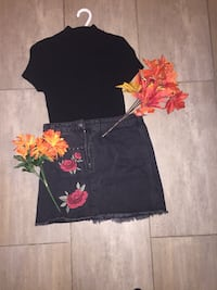Black top-$10 black floral skirt -$15 all  together-$25