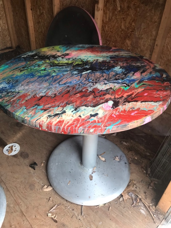 Funky colored table with hard resin on top