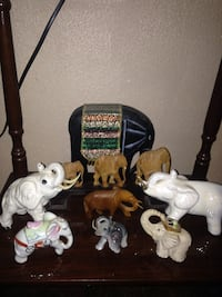 """Lot of different elephants """" wood ,ceramic , marble. Cleburne, 76033"""