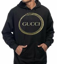 black and gold Gucci pullover hoodie