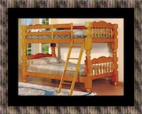 Wooden twin bunkbed frame with 2 mattress 46 km