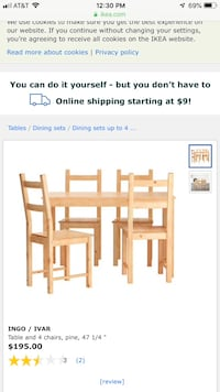IKEA wood table and 2 chairs! Washington, 20007