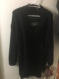 Black knit sweater with distressed details on sides and back  Edmonton, T5H 3W9