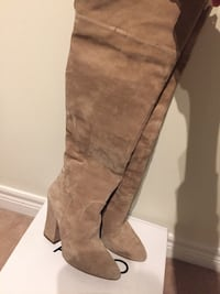 pair of brown suede knee-high boots Pincourt, J7W