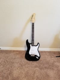 black and white electric guitar null