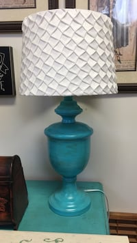 teal steel table lamp with cone white lampshade Milford, 19963