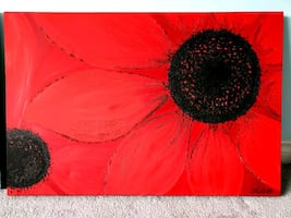 Price drop**S. Martin Red Flower Painting for Sale