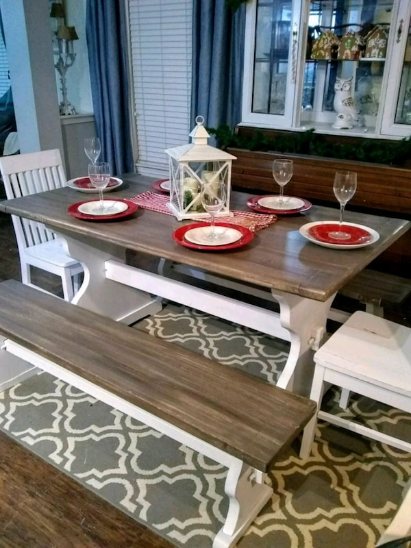 Admirable Farmhouse Dining Table 2 Benches 2 Chairs Interior Design Ideas Gentotryabchikinfo