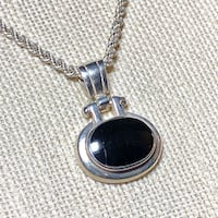 Vintage Sterling Silver Black Onyx Pendant with Sterling Rope Chain Ashburn