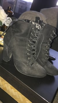 black suede heeled side-zip booties Mississauga, L5N 2R4