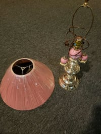 Brass table lamp with pink shade. North Brunswick Township, 08902