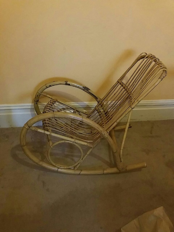 Brown Rattan Rocking Chair