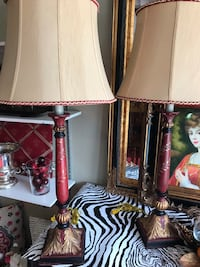 Two brown wooden base white shade table lamps San Antonio, 78232