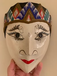 Wooden hand painted mask TORONTO