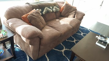 Large Brown Full-Sized Sofa