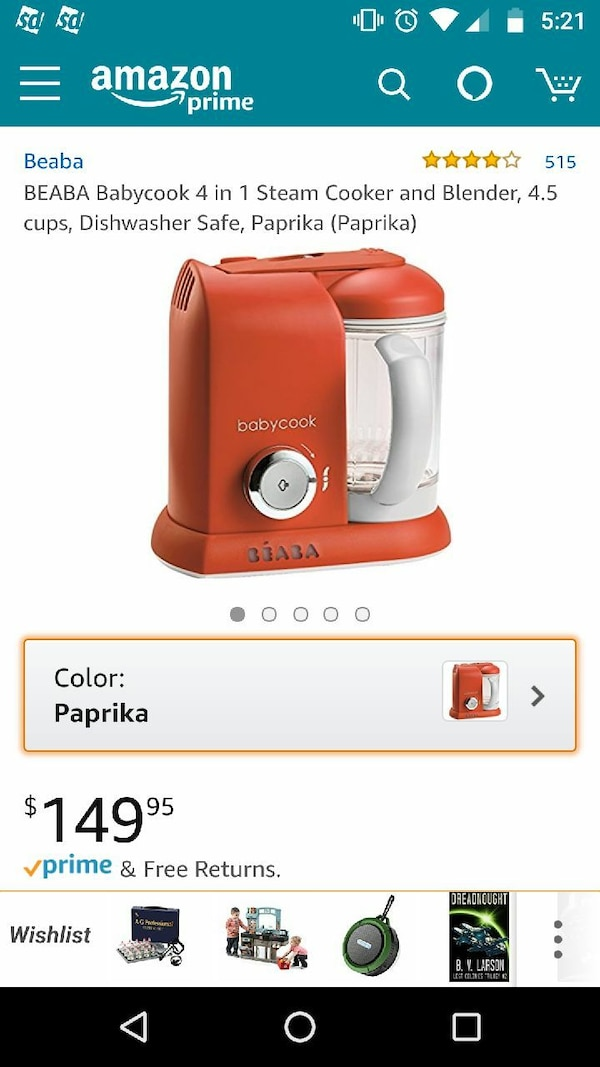 brown and white Babycook 4-in-1 cooker and blender screenshot