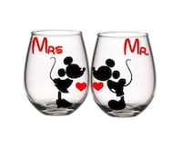 two white and black Mickey Mouse print ceramic mugs Donna, 78537