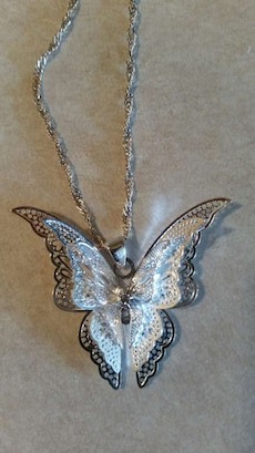 Silver butterfly pendant with the chain