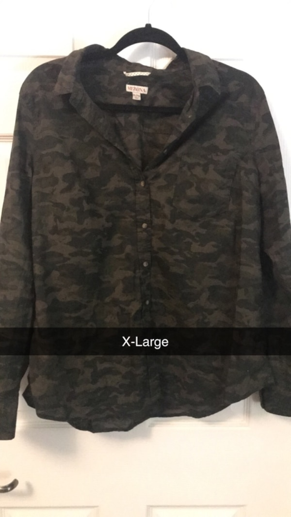 Two XLarge Green Long Sleeves - One Camo and One Plaid b387c5e6-f09b-40d5-b142-fc9cfc8dc4a8