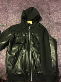black leather zip-up hoodie Vaughan, L6A 3C4