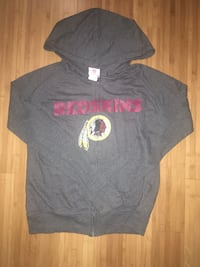 NFL Teen Apparel Washington Redskins lightweight gray cotton zip-up hoodie with pockets