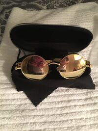 John Lennon hippie style Gold metal framed and bronze mirrored lens sunglasses with spring arms. South Euclid, 44118