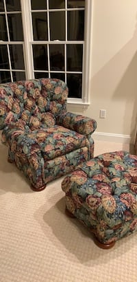 brown and red floral sofa chair Crofton, 21114
